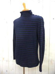 ブルーブルー BLUE BLUE ボーダー ハイネック Tシャツ サイズ 2 ブラック ネイビー 長袖 カットソー トップス ショルダーボタン コットン 日本製 聖林公司