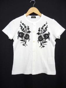 トリココムデギャルソン tricot COMME des GARCONS 半袖カーディガン 刺繍 ホワイト 白 トップス 夏