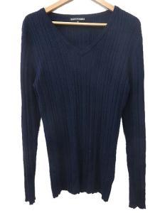 5351プールオム 5351 POUR LES HOMMES ウール リブニット 長袖 セーター カットソー Vネック 紺 ネイビー 3 メンズ