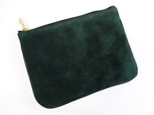 バルマン BALMAIN H&M コラボ クラッチバッグ ポーチ スエード レザー 黒 ブラック グリーン 極美品