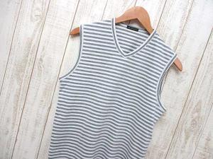 アンドゥムルメステール ANN DEMEULEMEESTER タンクトップ カットソー Tシャツ ボーダー柄 Vネック ノースリーブ 綿 XS グレー 白 ベルギー製