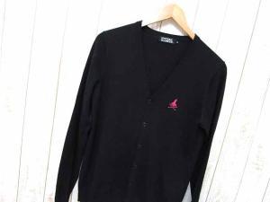 ヒステリックグラマー HYSTERIC GLAMOUR カーディガン ニット Vネック 胸スカル ガール刺繍 長袖 綿混 M 黒