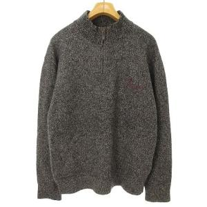 パパス Papas ハーフジップニット セーター 刺繍 チャコールの買取実績