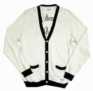 ワコマリア WACKO MARIA 13SS バック 刺繍 シルク混 コットン ニット カーディガン L オフホワイト×ブラック 白 黒 Q6 メンズの買取実績