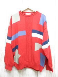 ジバンシィ GIVENCHY ボーダー風 長袖 ニット セーター 赤 クルーネック カットソー イタリー製