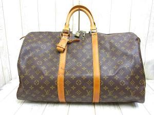 ルイヴィトン LOUIS VUITTON モノグラム キーポル50 M41426 ボストン バッグ 旅行かばん レザー ポワニエ パドロック 鍵