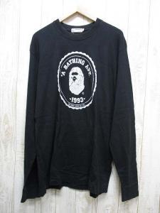 アベイシングエイプ A BATHING APE ゴリラ プリント 長袖 Tシャツ カットソー L 黒 クルーネック 綿100% 日本製 国内正規品 メンズ