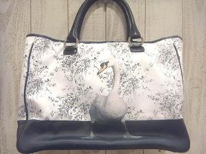 【ANYA HINDMARCH/アニヤハインドマーチ】 アヒル デザインプリント リボン刺繍トート ハンド バッグ