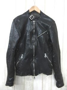 バックラッシュ BACKLASH 09AW カーフタンニン製品染めレザー ライダース ジャケット黒ブラックM 1097-01