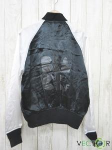 ブラックコムデギャルソン BLACK COMME des GARCONS 14SS バイカラー配色キュプラ100 スカジャン白 黒Lの買取実績