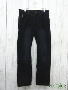 アルマーニ ジーンズ ARMANI JEANS レザーパッチ ストレート コーデュロイ パンツ黒ブラック32