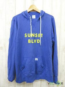 ベドウィン BEDWIN ナチュラル コットン SUNSET BLVD プルオーバー パーカ青ブルー3
