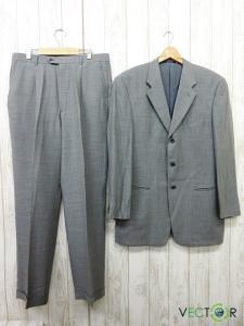 アルマーニ コレツィオーニ ARMANI COLLEZIONI バーニーズニューヨーク 毛ウール混3Bシングル スーツ セットアップ グレー42 大きいサイズ