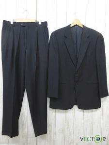 アルマーニ コレツィオーニ ARMANI COLLEZIONI バーニーズニューヨーク 絹シルク混2Bシングル スーツ セットアップ紺ネイビー42 大きいサイズ
