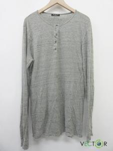 バルマン BALMAIN 麻リネン100ヘンリーネック霜降りカットソーTシャツ グレー