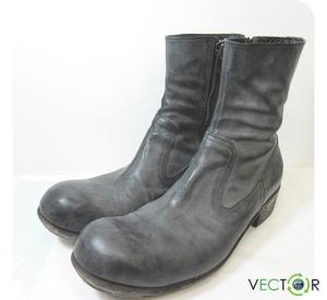 アタッチメント ATTACHMENT パラフィン加工ナッパネビアサイドZIPブーツ43黒ブラック サイドジップ靴 メンズ