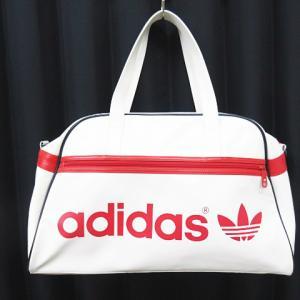 アディダス adidas ロゴ プリント デザイン ボストンバッグ白 赤 ユニセックス