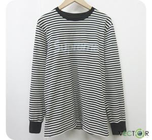 シュプリーム SUPREME 15AW Striped Logo L/S Top Black 黒ロングTシャツ カットソーM メンズの買取実績