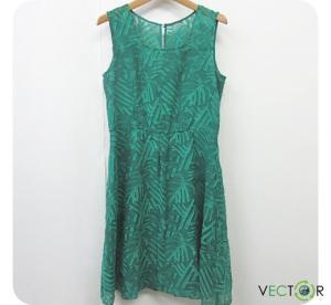 アナイ ANAYI ポリ シフォン 刺繍デザイン ノースリーブ チュニック ワンピース緑グリーン38 レディース