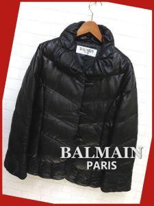 バルマン BALMAIN 最高級 本革ラム レザー長袖ダッフル ダウンジャケット コート 羊革 トグル 裾ギャザー 黒 ブラック