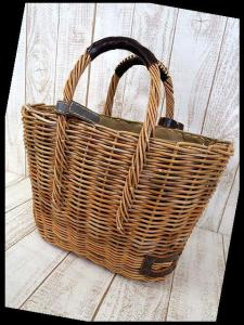 エバゴス EBAGOS かごバッグ 紅籐 バスケット 鞄 ナチュラル ライトブラウン 麻 かぶせ布 ハンドバッグ カバン かばん オーガニック