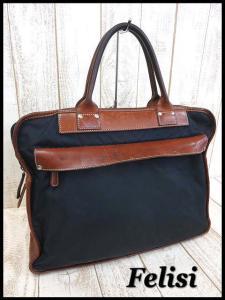 フェリージ Felisi バッグ ブリーフケース ビジネスバッグ 書類かばん ナイロン レザー 紺 ブラウン ロゴ刻印 かばん 鞄 カバン