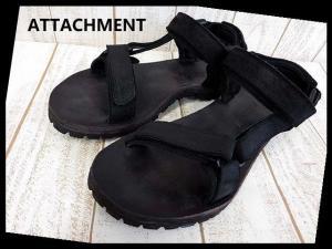 アタッチメント ATTACHMENT サンダル 本革 レザー アンクルベルト 43 黒 ブラック くつ 靴 シューズ 最高級 ホースレザー