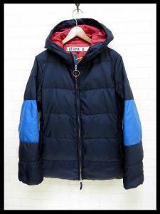 フォーティーファイブアールピーエム 45rpm ダウンジャケット ダウンコート フード付 2 紺 ネイビー 水色 赤 ロゴ 刺繍 レディース