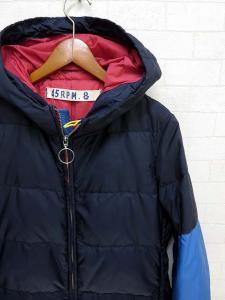 フォーティーファイブアールピーエム 45rpm ダウンジャケット ダウンコート フード付 2 紺 ネイビー 水色 赤 ロゴ 刺繍 レディースの買取実績