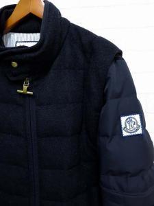 モンクレール MONCLER ダウンジャケット コート カシミヤ ウール ナイロン 切替え 2 紺 ネイビー ガムブルー GAMME BLUE ロゴ 刺繍 国内正規品 美品 メンズの買取実績