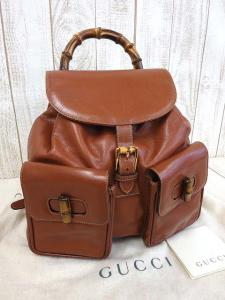 グッチ GUCCI リュック バッグ バンブー レザー 茶 ブラウン 本革 かばん 鞄 カバン レディース