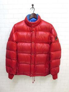 モンクレール MONCLER ダウンジャケット ジップアップ アシックス社製 M?L 赤 水色 レア 希少 メンズ