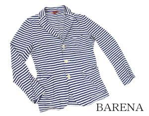 【BARENA/バレナ】 イタリア ヴェネチア ブランド ボーダー 長袖カーディガン ニット テーラードジャケット スペアボタン有り リネン 青 白 44