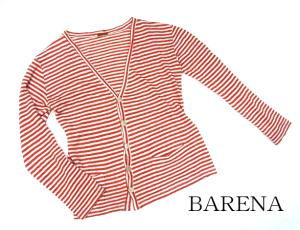 【BARENA/バレナ】 イタリア ヴェネチア ブランド ボーダー 長袖ロングカーディガン ニット セーター アイボリー オレンジ リネン S