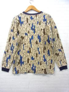 【X-LARGE/エクストララージ】 総柄 プリント 長袖 Tシャツ カットソー トップス ロゴ刺繍 ベージュ 青 Mの買取実績