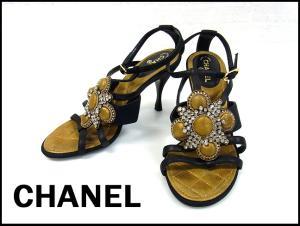 【CHANEL/シャネル】 ビジュー ラインストーン ヒール サンダル ピンヒール ストラップ ブラック 黒 35 C 22cm 靴 シューズ 服飾