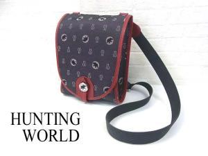 ハンティングワールド HUNTING WORLD キャンバス レザー ショルダーバッグ ポシェット 斜め掛け 鞄 かばん 紺 赤 服飾