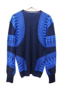 アレキサンダーマックイーン ALEXANDER MCQUEEN 美品 Vネック ウール ニット セーター カットソー L ネイビー×ブルー M37573の買取実績