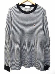 アベイシングエイプ A BATHING APE classics サーマル ボーダー カットソー Tシャツ 長袖 サル顔刺繍 クルーネック M グレー×黒 S52295