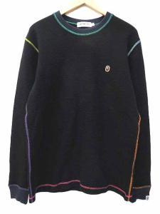 アベイシングエイプ A BATHING APE classics サーマル カットソー Tシャツ 長袖 カラーステッチ サル顔刺繍 クルーネック L 黒 ブラック S52294
