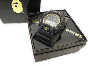 アベイシングエイプ A BATHING APE × CASIO G-SHOCK 腕時計 DW-6900FS 稼働品 シリアルナンバー入り 2000本限定 黒 ブラック T55564 メンズ