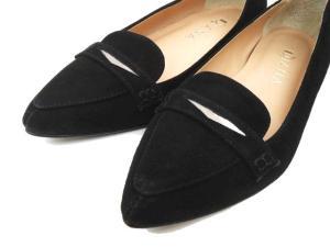 ダイアナ DIANA スウェード ローファー ポインテッドトゥ パンプス 22.5 黒 ブラック 靴 シューズ S56891 レディースの買取実績