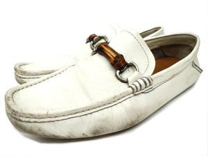 グッチ GUCCI バンブービット ドライビングシューズ ローファー 44356 白 ホワイト 靴 シューズ 7 25.0-25.5cm B57226 メンズ