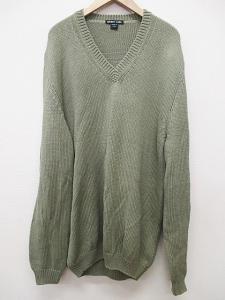 【HELMUT LANG/ヘルムートラング】 ニット セーター Vネック イタリア製 緑 S 長袖 B3277