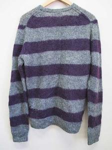 モンキータイム MONKEY TIME ニット セーター ボーダー 紫 グレー M 長袖 B6075の買取実績