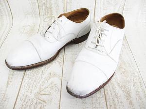 アルフレッド サージェント Alfred Sargent レザーシューズ 革靴 7 E 25.5cm 白 ホワイト ストレートチップ 紳士靴 A9500