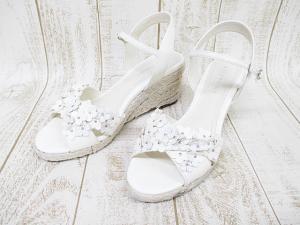 アンテプリマ ANTEPRIMA サンダル ウエッジソール 24cm 白 生成り 花モチーフ エナメル 婦人靴 D0069