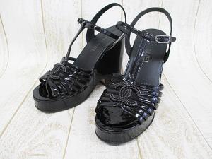 シャネル CHANEL サンダル 厚底 エナメル 39 24.5cm 黒 ブラック ココマーク 婦人靴 D0727 ウエッジソール レディース