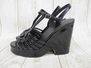 シャネル CHANEL サンダル 厚底 エナメル 39 24.5cm 黒 ブラック ココマーク 婦人靴 D0727 ウエッジソール レディースの買取実績