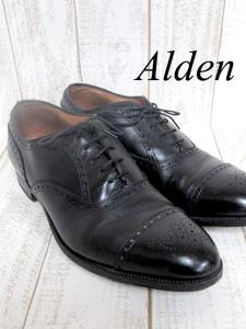 【ALDEN/オールデン】 メダリオン チップバル ビジネスシューズ/ウィングチップ/革靴/カーフスキン/ブラック/黒/10.5インチ/メンズ